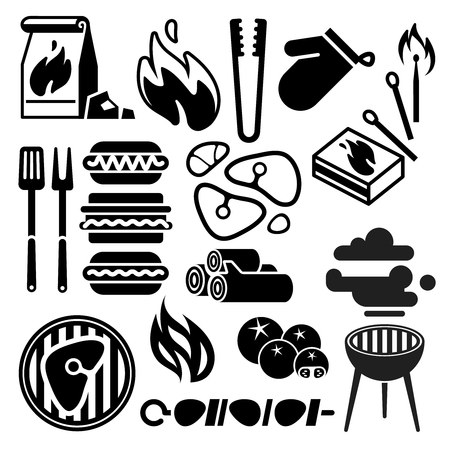 Black barbecue, food flyer, BBQ vector icons. Food bbq grill and meat steak cook. Cooking bbq lunch with beef on fire illustration