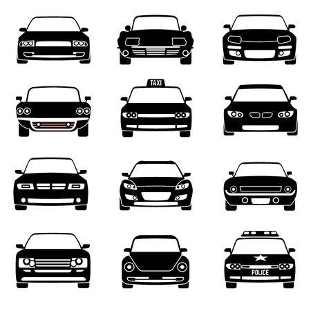 Cars in front view black vector icons. Automobile black and car taxi transport. Police car vehicle illustration Illustration