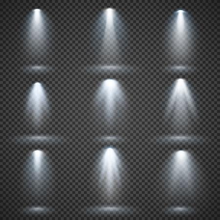 Vector light sources, concert lighting, stage spotlights set. Concert spotlight with beam, illuminated spotlights for web design illustration Illustration