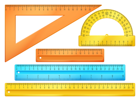 centimeter: School instruments, rulers vector set. Instrument ruler for measure and tool ruler centimeter and millimeter scale illustration