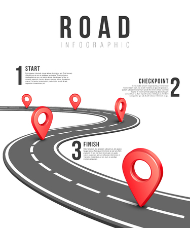 Road infographic vector template. Road information chart, creative traffic road infigraphic banner illustration Vettoriali