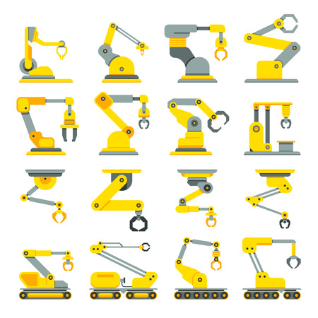 Robotic arm, hand, industrial robot flat vector icons set. Robot industry technology and machine arm robot for manufacture illustration Ilustrace