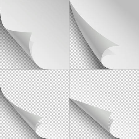 bend: Blank sheets of paper with page curl and shadows. Sheet paper with corner curl, blank paper bent set. Vector illustration Illustration