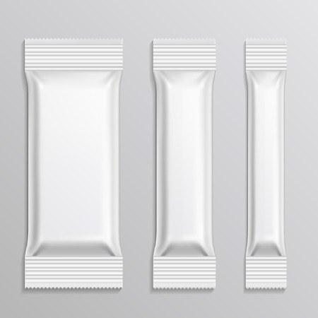 plastic bag: Stick plastic packs vector set for snack product, coffee, salt, sugar, pepper, spices. Pack or package plastic for snack. Plastic bag for product food illustration