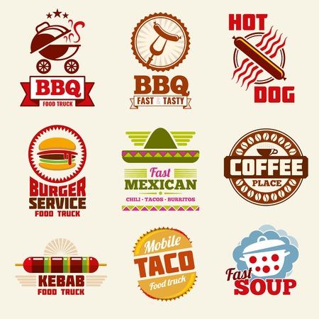 Fast food vector logo, emblems, labels and badges set. Restaurant fast food emblem and badge, logo fast food vintage illustration
