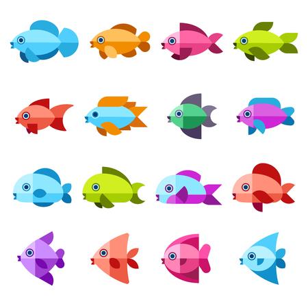 Ensemble d'icônes plates vecteur de poisson. Poisson mer ou océan, illustration de poissons naturels
