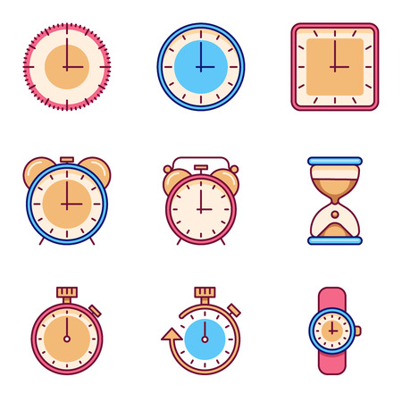 tine: Alarm clock, timer, watch flat vector icons. Tine clock object set and watch chronometer and clock for time illustration Illustration