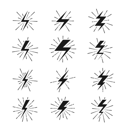bolt: Retro lightning bolt signs with sunburst effect. Lightning sign set and electric lightning thunder. Vector illustration