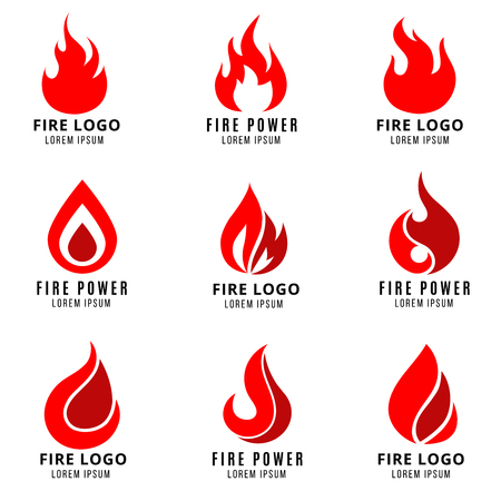 Vector logo set with fire vector symbols. Fire logo icon and flame fire emblem illustration