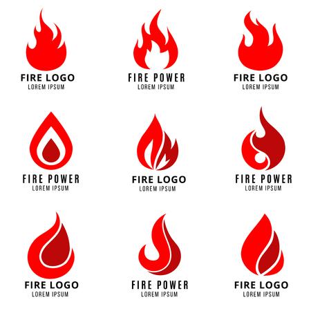 Vektor-Logo mit dem Feuer Vektor-Symbole gesetzt. Feuer-Logo-Symbol und Flamme Fire Emblem Illustration