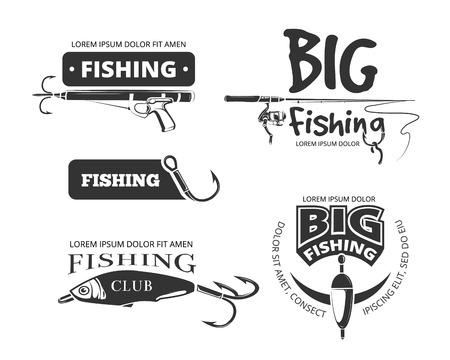 Retro Angelverein Vektor Abzeichen, Etiketten, Logos, Embleme. Label und Symbol für Angelverein, Fische fangen und Ausrüstung für die Fischerei Illustration