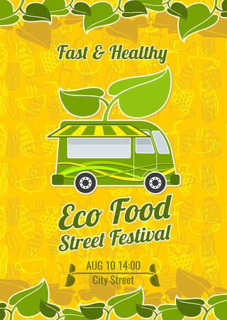 food festival: Street food festival vintage vector poster. Banner food festival and poster festival food illustration