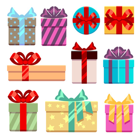 birthday presents: Gift boxes flat icons set. Gift box package or bag, box with ribbon for gift birthday. Vector illustration