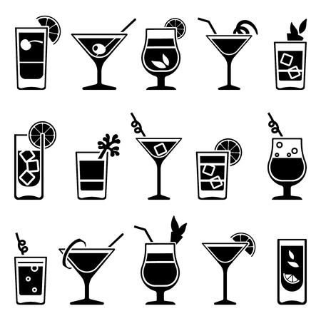 Cocktails et boissons vecteur icônes noires. Boire de l'alcool à cocktail et un cocktail avec de la paille et des fruits illustration