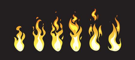computer animation: Cartoon comic vector fire animation frames for computer game. Fire energ for computer design, animation fire illustration