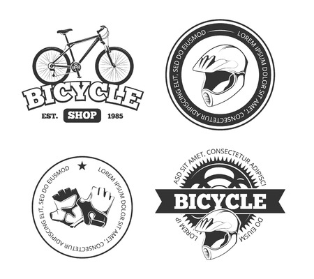 biking glove: Bicycle, bike vintage vector labels, emblems, logos, badges. Bicycle logo shop and vintage repair shop for bicycle illustration Illustration