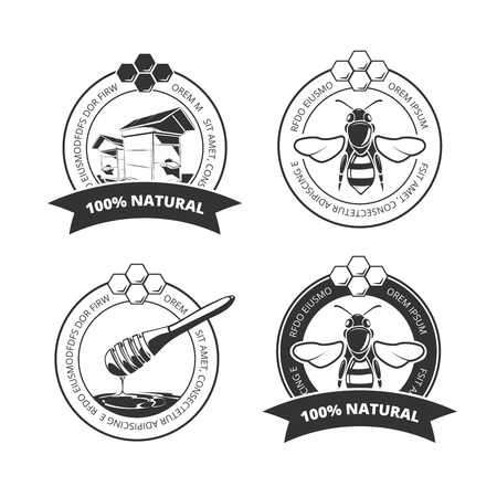 ビンテージの蜂蜜とミツバチはベクトル ラベル、バッジ、エンブレム、ロゴのセットです。甘い蜜のエンブレムやオーガニック蜂蜜ファーム ラベル