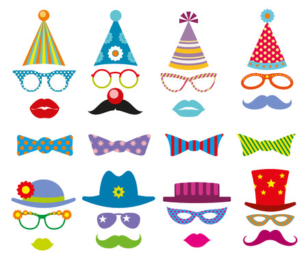 Birthday party photo booth props vector set. Party decoration for photo booth, birthday mask photo booth, costume for masquerade photo booth illustration Illustration