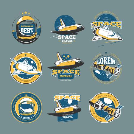 space flight: Vintage space and astronaut vector colored badges, emblems, logos, labels. Rocket space emblem, and shuttle space flight and travel illustration Illustration