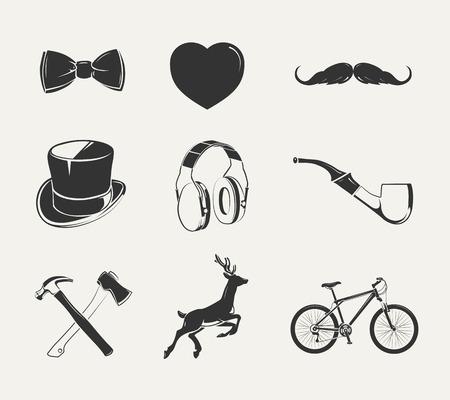 Vector elements for vintage hipster labels. Hipster element for label and emblem, hipter objects classic illustration