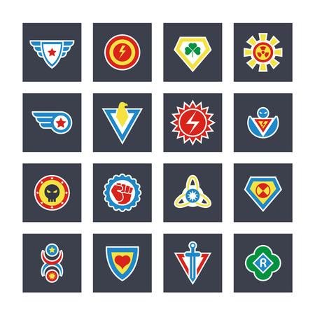 Superhero color vector badges, emblems, logos. Superhero badge icon, power and protect insignia for superhero illustration