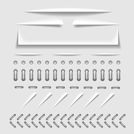 perforation: Paper cut, stitch and perforation web dividers with shadow effect vector template. Border stitch hole and binder collection stitch for paper cut illustration