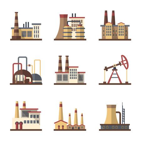 Fabrik-Industriegebäude und Produktionsstätten Vektor flache Ikonen. Fabrikgebäude und Anlagenbau Bau-, Industrie- und Fertigungswerk Illustration