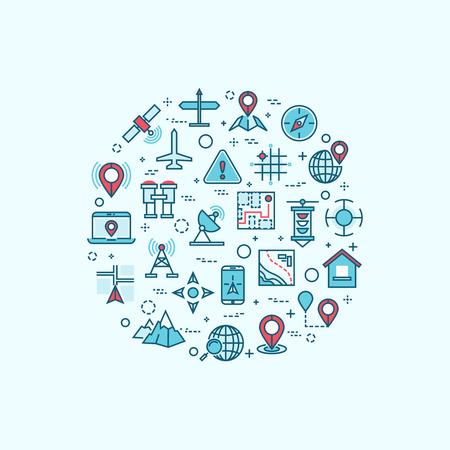 topography: Iconos de cartograf�a y topograf�a de l�nea en lugar de mapas y concepto de navegaci�n del vector. iconos de navegaci�n del viaje y se�ales de navegaci�n GPS geograf�a en forma de c�rculo Vectores