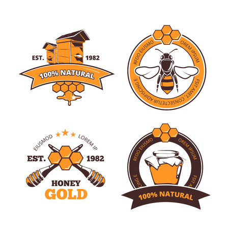 Retro beekeeper, honey vector labels or badges. Honey logo with beehive farm. Quality natural and sweet honey emblems Stock Illustratie