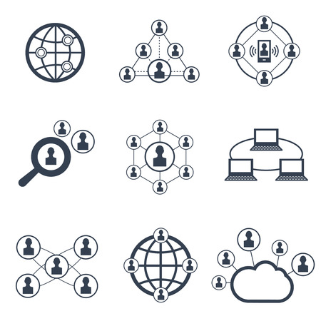 globe illustration: Social network symbols. Vector icons of connection people to network and internet social people communication signs