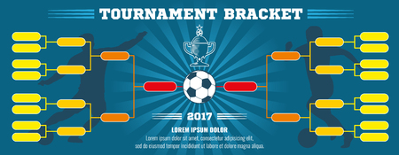 tournament bracket: Soccer banner, European football tournament bracket with ball. Soccer match or football tournament, cup of championship vector illustration template