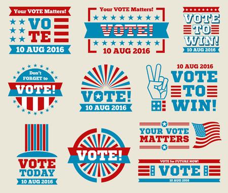 encourage: Encourage voting USA 2016 vector badges set. American vote labels for national voting day, vector illustration