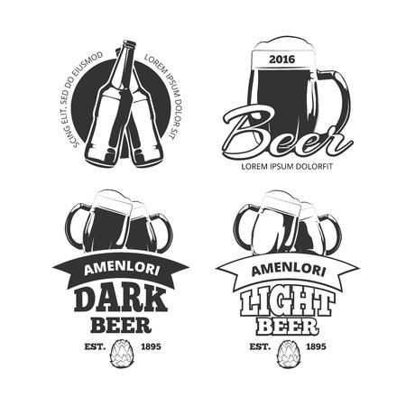 Vintage craft beer brewery vector emblems or labels. Beer alcohol beverage logo set with glass and bottle. Lager and ale beer badges for pub, vector illustration