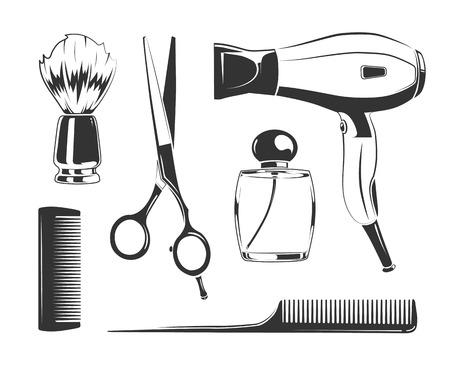Vector schwarze Elemente für Friseurladen Etiketten. Kamm und Schere, Fön und Rasierpinsel Vektor-Silhouetten