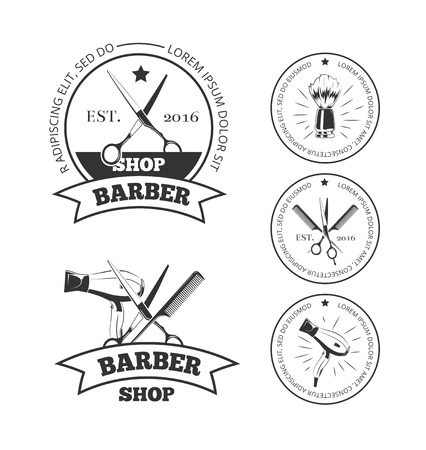Vintage barber shop vector logo set. Barbershop labels or barber shop emblems with comb and scissors, hair dryer and shaving brush