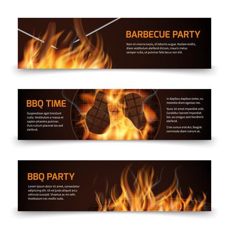 Bbq grill party bannières vectorielles horizontales avec un feu chaud réaliste. Bbq party banner and bbq picnic illustration
