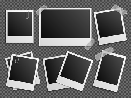 recollection: Retro photo vector set. Polaroid frames for family album. Empty vintage photography card sets, vector illustration