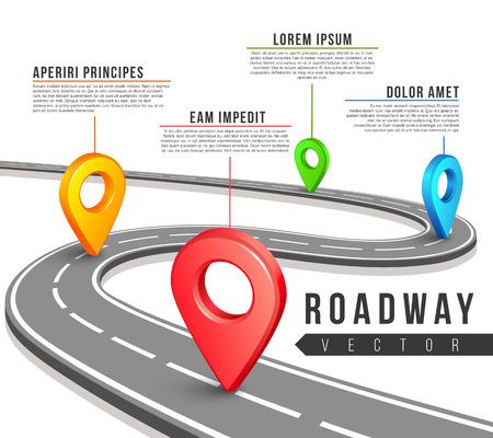 Calle hoja de ruta para el diseño de infografía del asunto del vector. hoja de ruta infografía y la información de texto de datos para sitios web, presentaciones y folletos