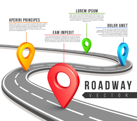 Street road map for vector business infographics design. Road map infographic and information data text for web sites, presentations and brochures
