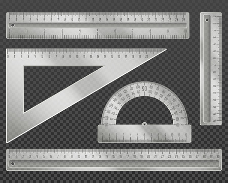 protractor: Measuring tools. Rulers, triangle and protractor set vector illustration