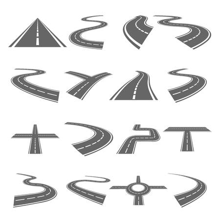 Curved roads vector set. Asphalt road or way and curve road highway for transportation illustration