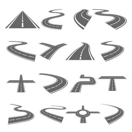 curve road: Curved roads vector set. Asphalt road or way and curve road highway for transportation illustration