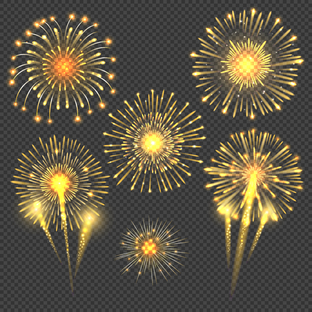 Vector celebratory gold firework salute burst. Light set firework and holiday firework for new year event illustration Illustration