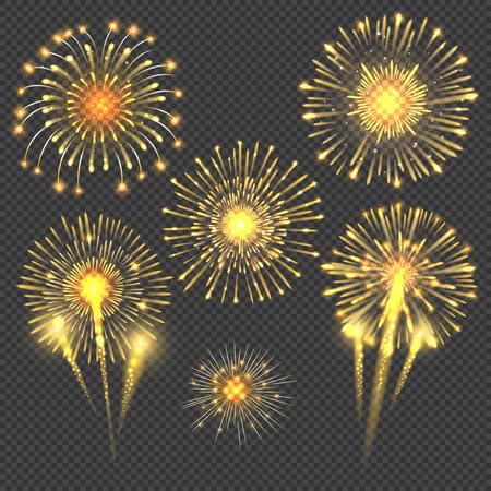 celebratory: Vector celebratory gold firework salute burst. Light set firework and holiday firework for new year event illustration Illustration