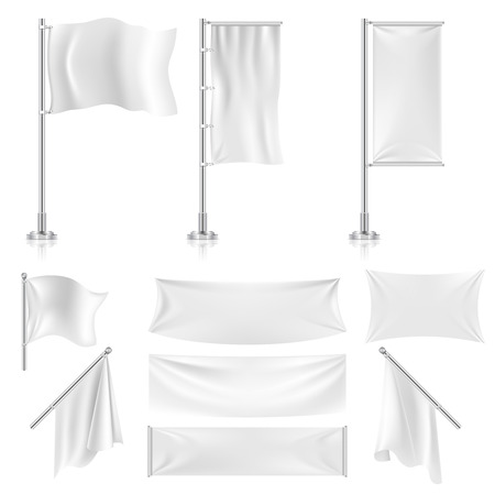 banderas de publicidad textiles blancos realistas y pancartas conjunto de vectores. Publicidad bandera de la bandera y el cartel de la lona de la tela para la ilustración de publicidad