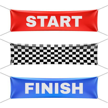 race start: Starting, finishing, and checkered vinyl banners with folds. Sport flag start and finish, banner checkered for competition race. Start or finish sign illustration vector set