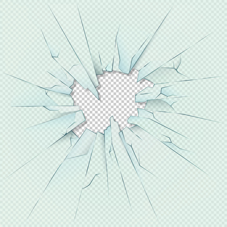 Broken transparent glass on checkered plaid background. Vector stock illustration. Glass transparent broken or window glass destruction hole template Ilustrace