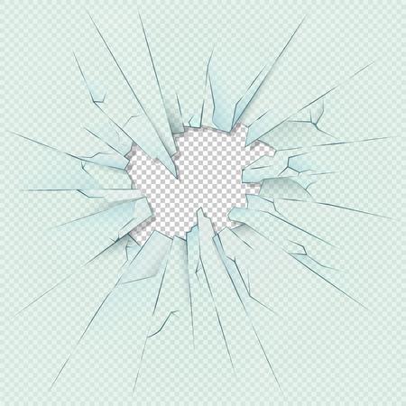 vidrio transparente roto en el fondo de la tela escocesa a cuadros. Vector de la ilustración. perforada de destrucción vidrios rotos o ventana de cristal transparente
