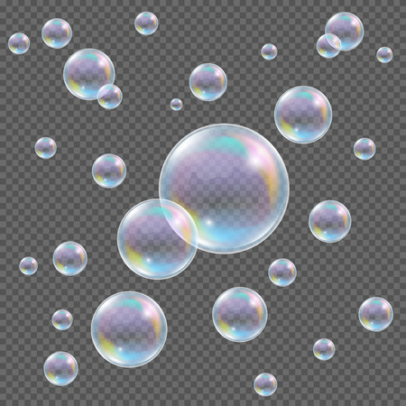 soap reflection: Soap bubbles on transparent background. Realistic transparent vector soap bubbles with rainbow reflection and glares on checkered background