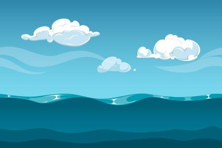 nubes caricatura: Mar u océano paisaje de dibujos animados con el cielo y las nubes. Fondo transparente de las ondas de agua para el diseño de juegos de ordenador. Paisaje con las ondas de agua y la ilustración del vector de la nube